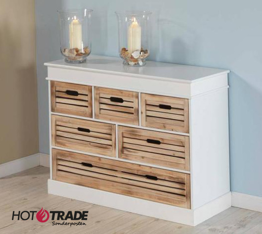 sideboard kommode weiss 6 kisten kiefernholz aufbewahrung neu uvp 299. Black Bedroom Furniture Sets. Home Design Ideas