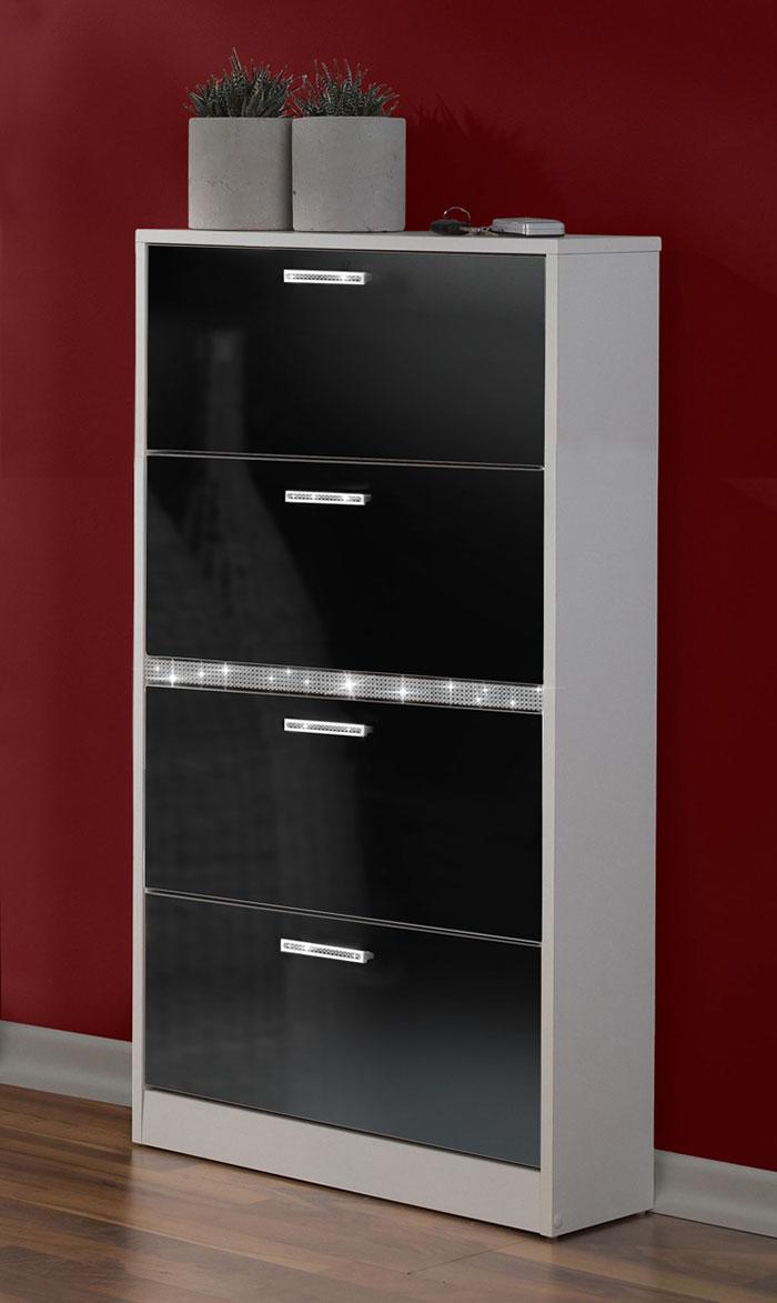 schuhschrank garderobe wandschuhschrank shine schwarz. Black Bedroom Furniture Sets. Home Design Ideas