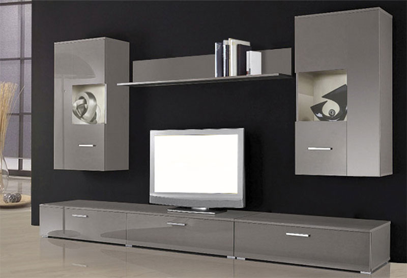 wohnwand schrank regal vitrine lowboard grau 5 teilig 252005 neu ovp. Black Bedroom Furniture Sets. Home Design Ideas