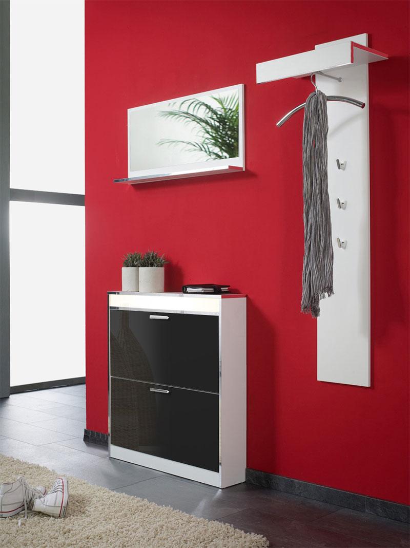 garderoben set dielen set schuhschrank 3 tlg wei schwarz neu ovp ebay. Black Bedroom Furniture Sets. Home Design Ideas