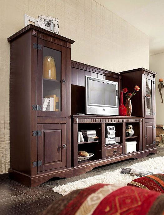 wohnwand kolonialstil braun m bel ideen innenarchitektur. Black Bedroom Furniture Sets. Home Design Ideas