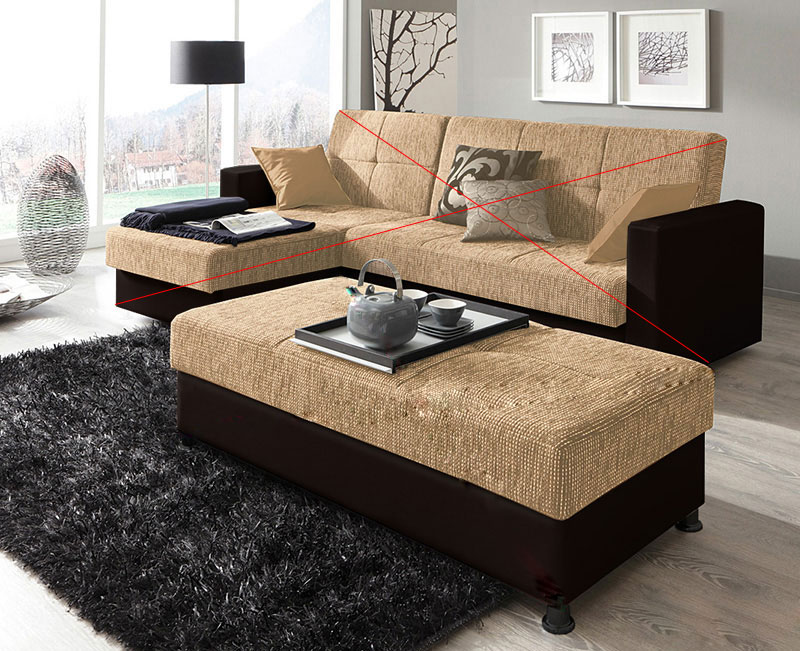 Hocker Couch LORA schwarz cream NEU & OVP