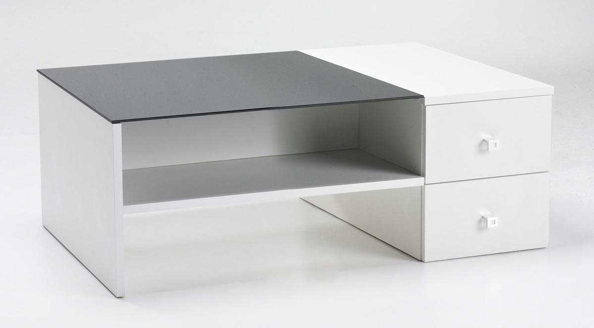 Couchtisch Tisch Wohnzimmertisch Weiß Schwarz Schubkästen DOPPIA 110266