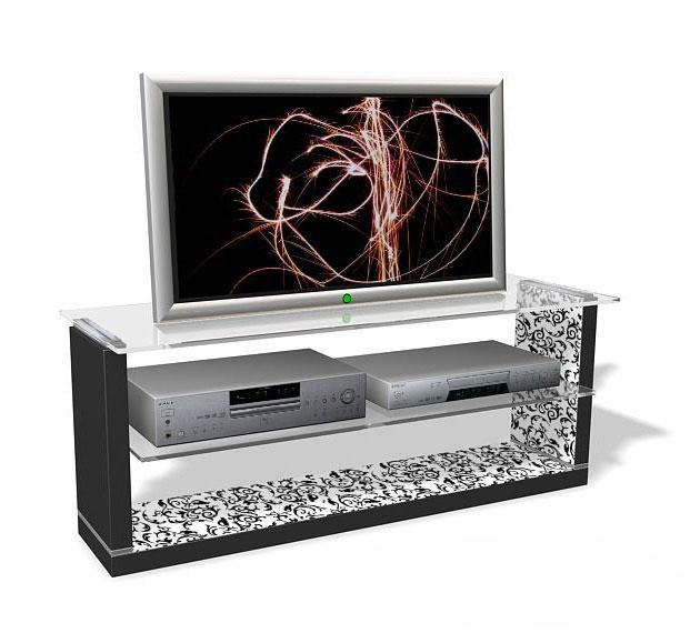 TV LOWBOARD TV RACK WEISS FLORAL MUSTER NEU & OVP 110347