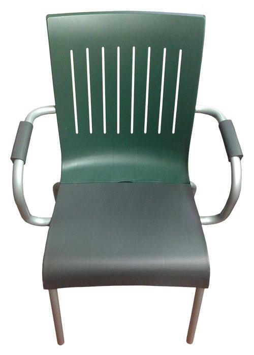 Gartenstuhl Stuhl mit Armlehne Grosfillex 1 Stück grau grün NEU & OVP