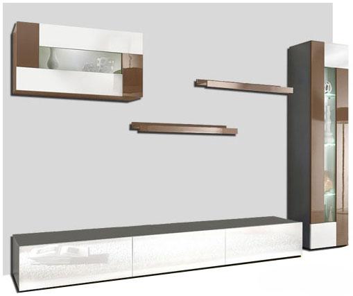 Wohnwand 5tlg Schrankwand TV Board Cappcino/weiß HOCHGL UVP 799€ 252002