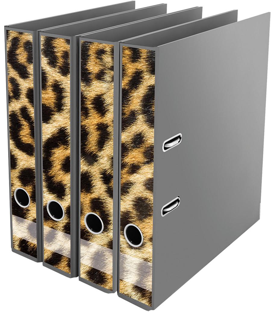 Ordner File Sticker Leopard muster Leo braun schwarz NEU 2520651