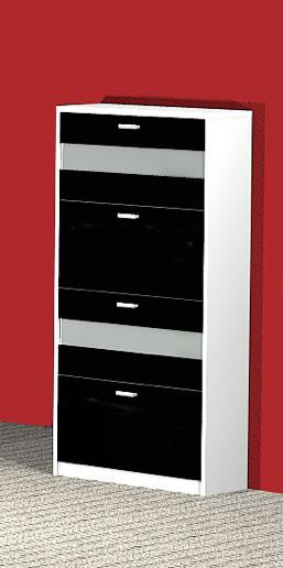 Wanschschuhschrank Schuhschrank Garderobe Napoli schwarz/weiß NEU & OVP 2521180