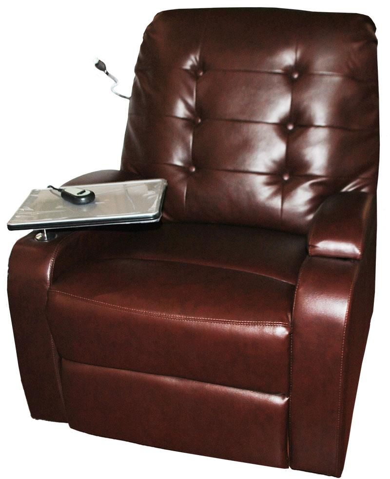 tv sessel relax braun kunstleder automatisch lampe tablett. Black Bedroom Furniture Sets. Home Design Ideas