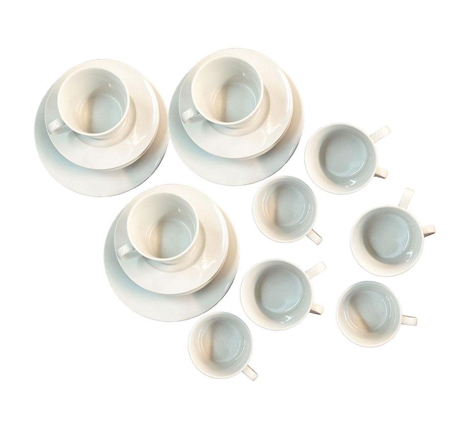 geschirr set tasse teller gro klein wei porzellan 36. Black Bedroom Furniture Sets. Home Design Ideas