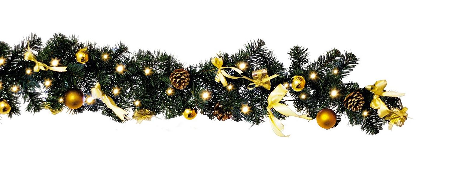 Girlande Weihnachtsgirlande Dekoration LED Weihnachtskugeln gold NEU 110369