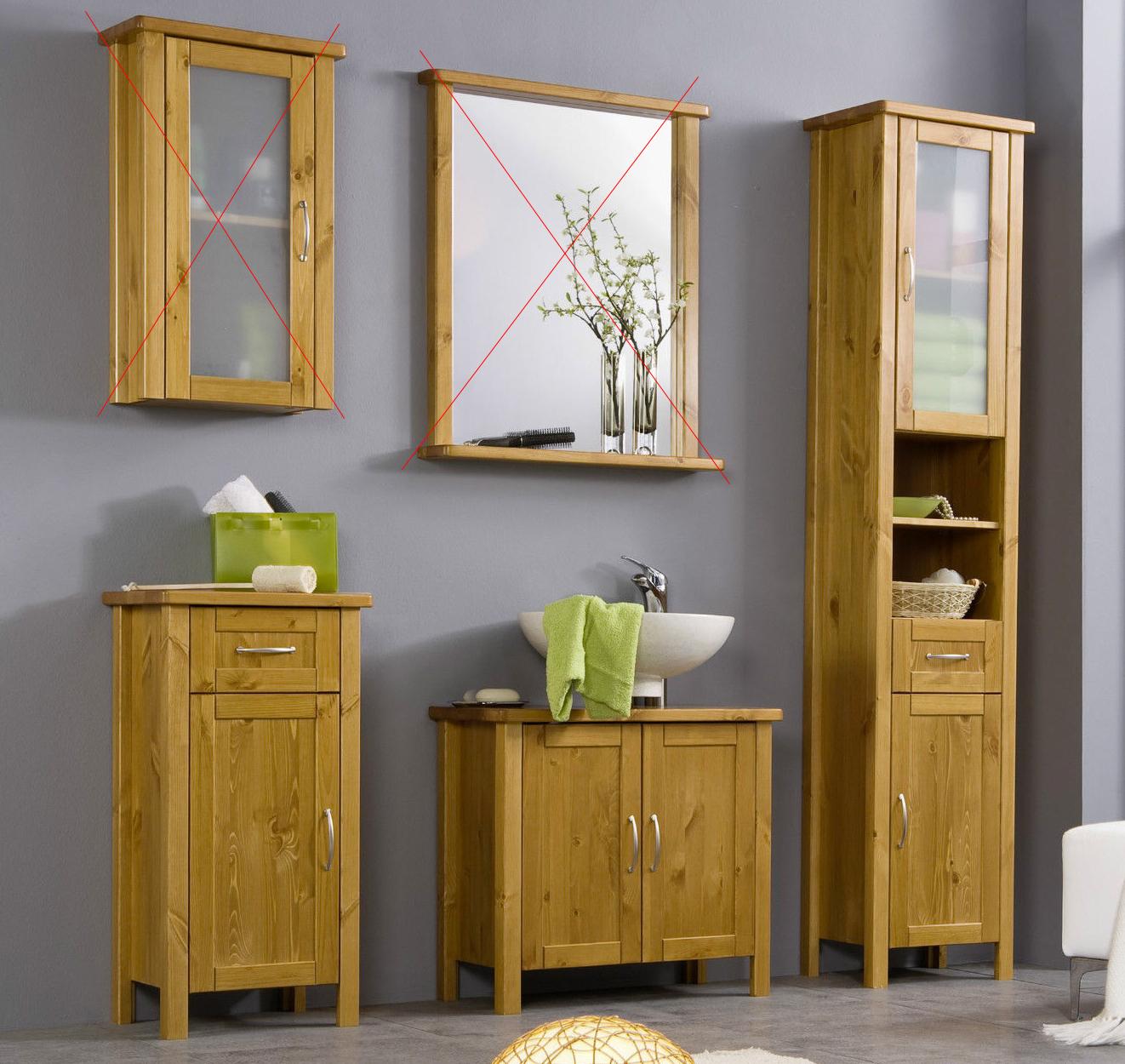 Badmöbel Set Hochschrank Unterschrank Waschbeckenunterschrank Kiefer NEU 252023
