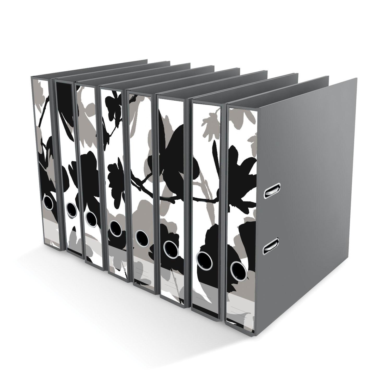 Ordner File Sticker Magnolie Blumen schwarz weiß 8 Stück NEU 2520655