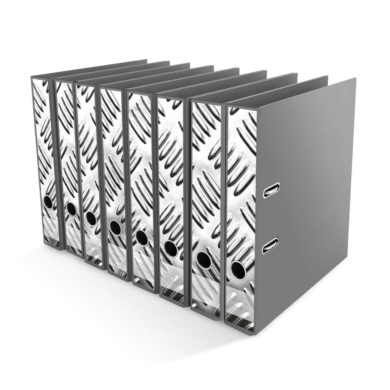 Ordner File Sticker Metall Optik silber 8 Stück NEU 2520657