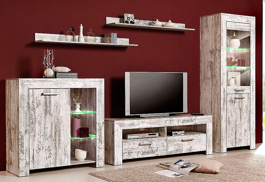 wohnwand w5tlg anbauwand schrankwand tv board kiefer wei gew uvp 730 2521742 ebay. Black Bedroom Furniture Sets. Home Design Ideas