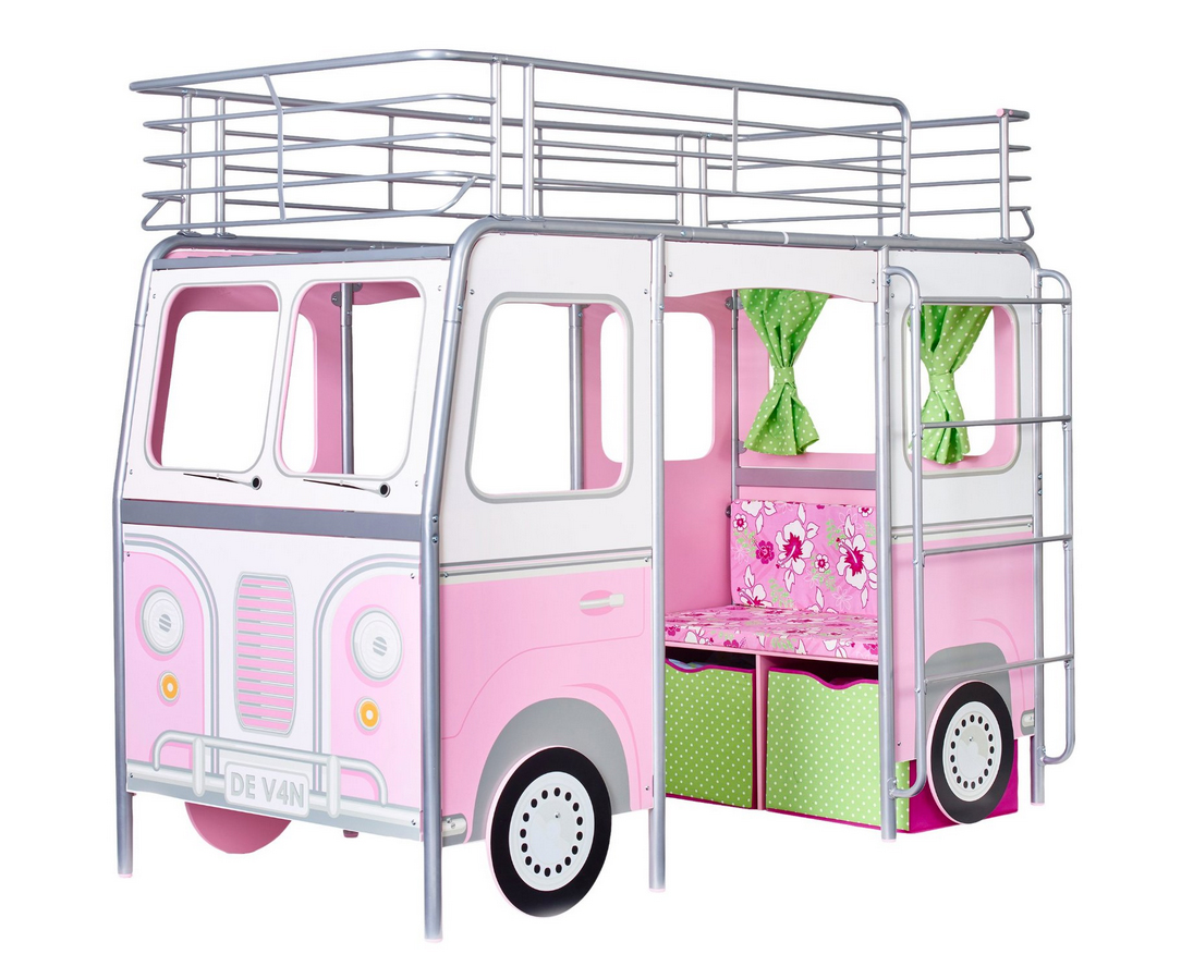 Kinderbett Bett Hochbett Camper Sitzbank Schriebtisch rosa Matratze NEU 2521875