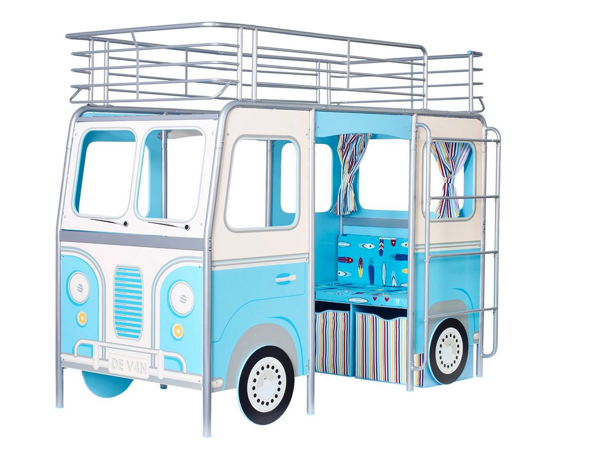 Kinderbett Bett Hochbett Camper Sitzbank Schreibtisch blau Matratze NEU 2521876