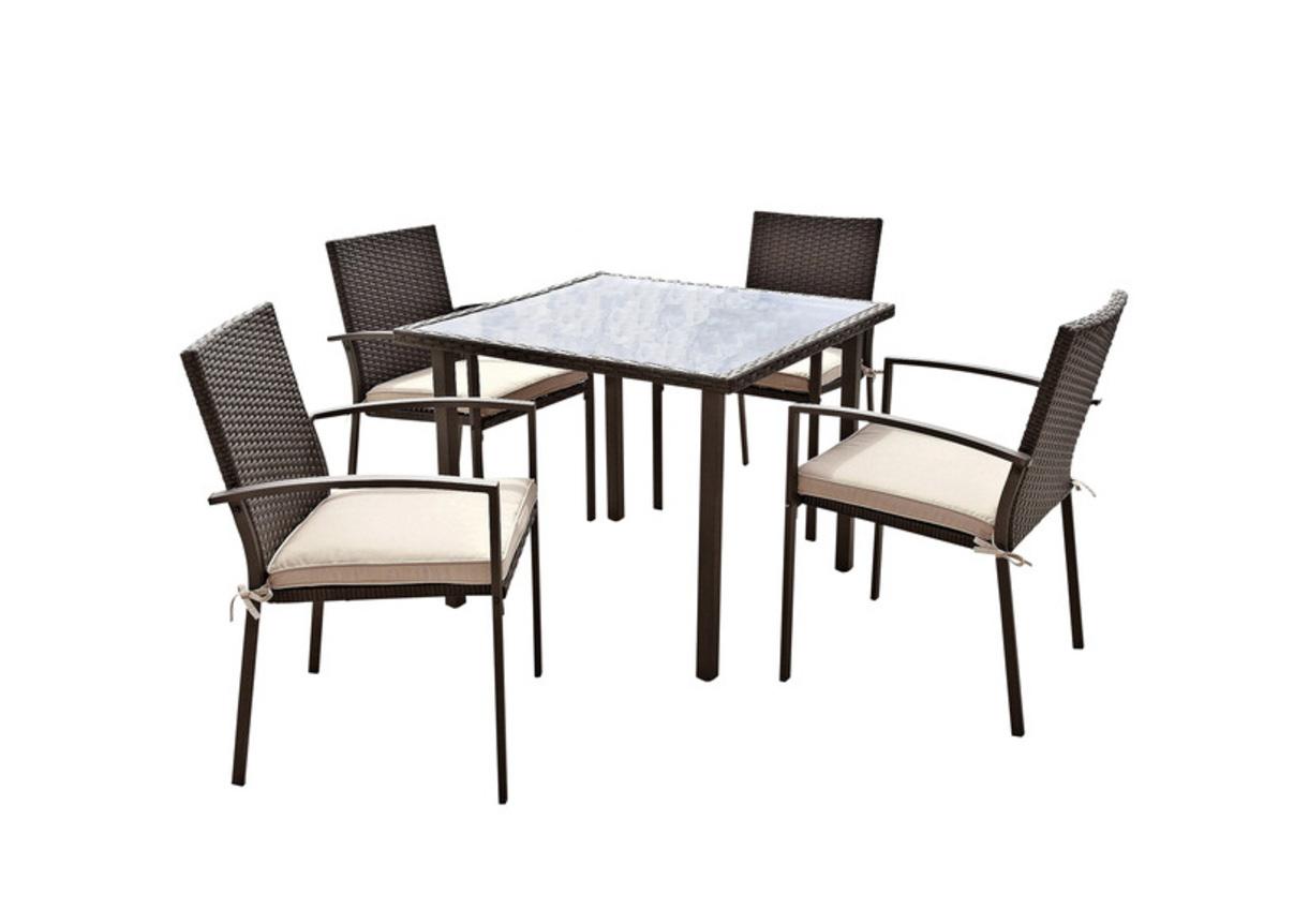 gartenm bel gartengruppe tisch st hle rattan inkl auflagen braun 9tlg 7150016. Black Bedroom Furniture Sets. Home Design Ideas