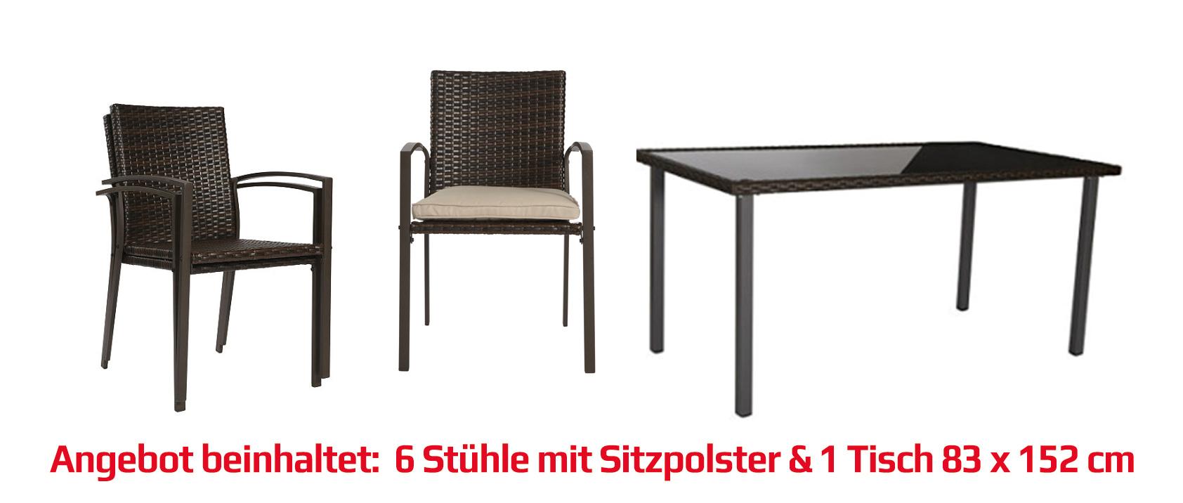 gartenm bel gartengruppe tisch st hle rattan inkl auflagen braun 13tlg 7150023 ebay. Black Bedroom Furniture Sets. Home Design Ideas