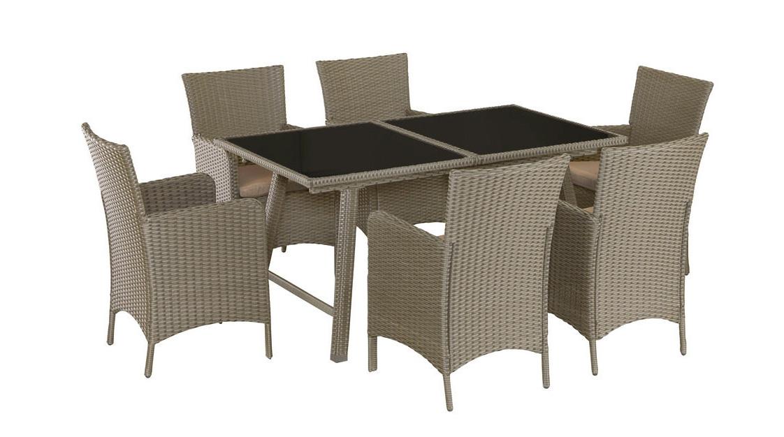 gartengruppe essgruppe tisch st hle rattan glas ausziehbar 7150031 ebay. Black Bedroom Furniture Sets. Home Design Ideas
