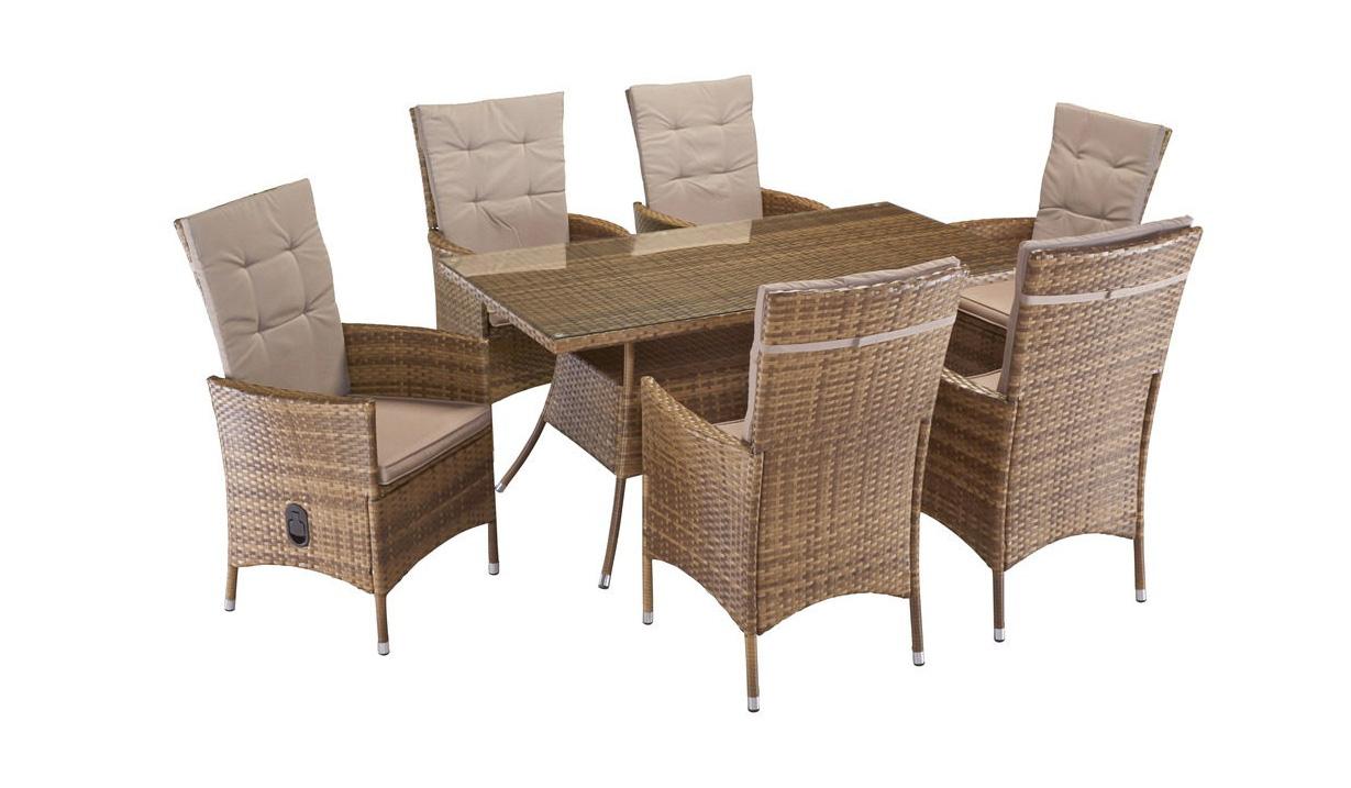gartengruppe essgruppe tisch 150x80 st hle rattan stauraum. Black Bedroom Furniture Sets. Home Design Ideas