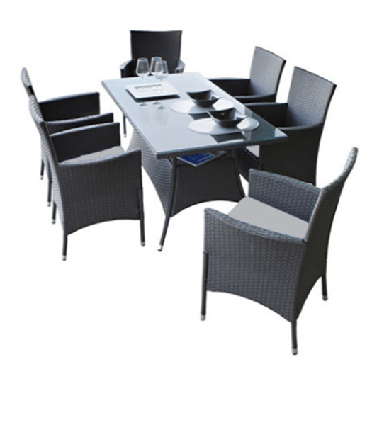 Gartenmöbel Gartengruppe Tisch Stühle Rattan inkl. Auflagen grau 13tlg 7150043