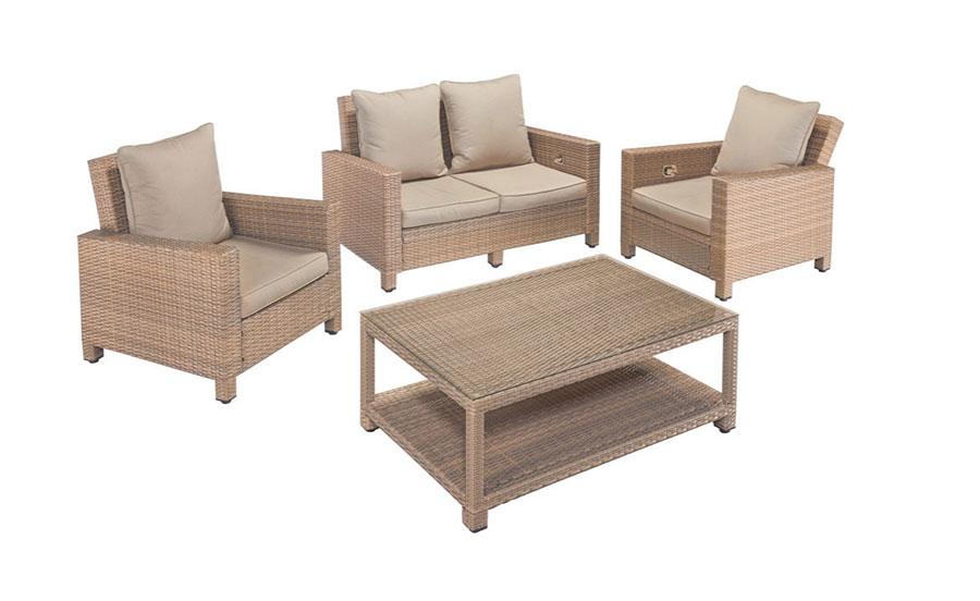 Gartenmobel Im Landhausstil :  LoungegruppeverstellbareLehnehellbraunPolyrattan12tlg7150061