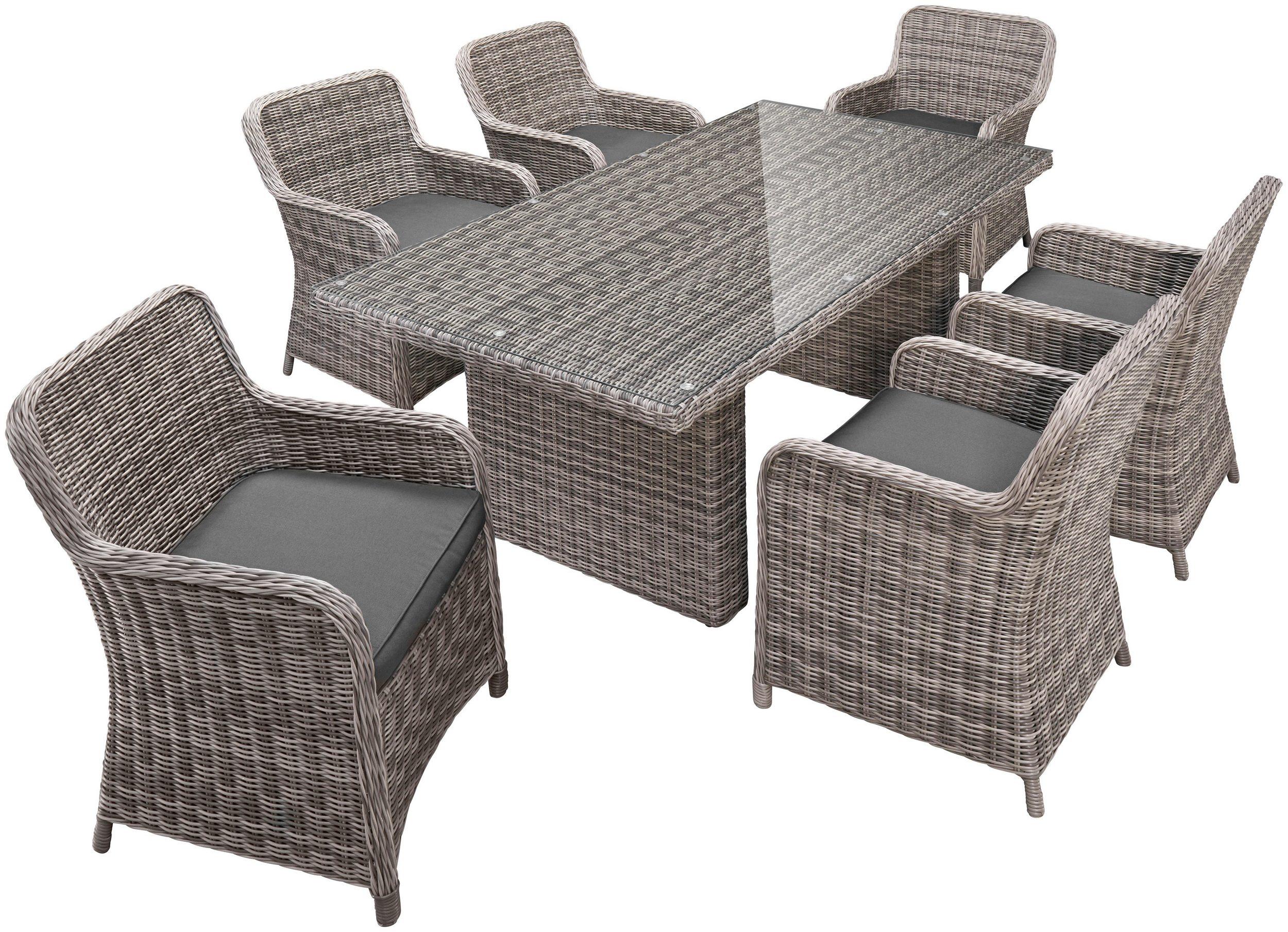 Gartengruppe Essgruppe Tisch 100x200 Stühle Polyrattan Auflagen 13tlg 7150075