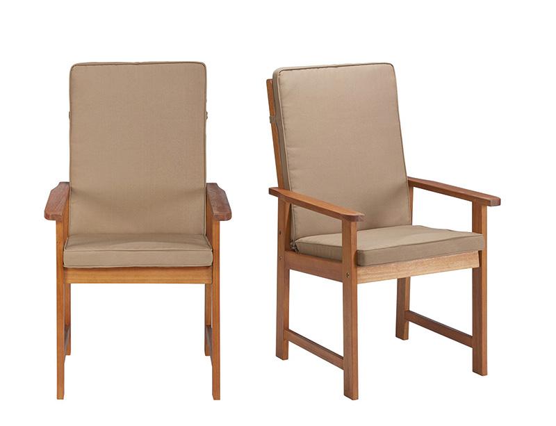 2x gartenstuhl stuhl mit armlehne polster auflage eukalyptusholz 7150105 ebay. Black Bedroom Furniture Sets. Home Design Ideas