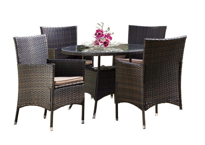 gartengruppe essgruppe garten tisch st hle auflage polyrattan rund 9 tlg 7150019. Black Bedroom Furniture Sets. Home Design Ideas
