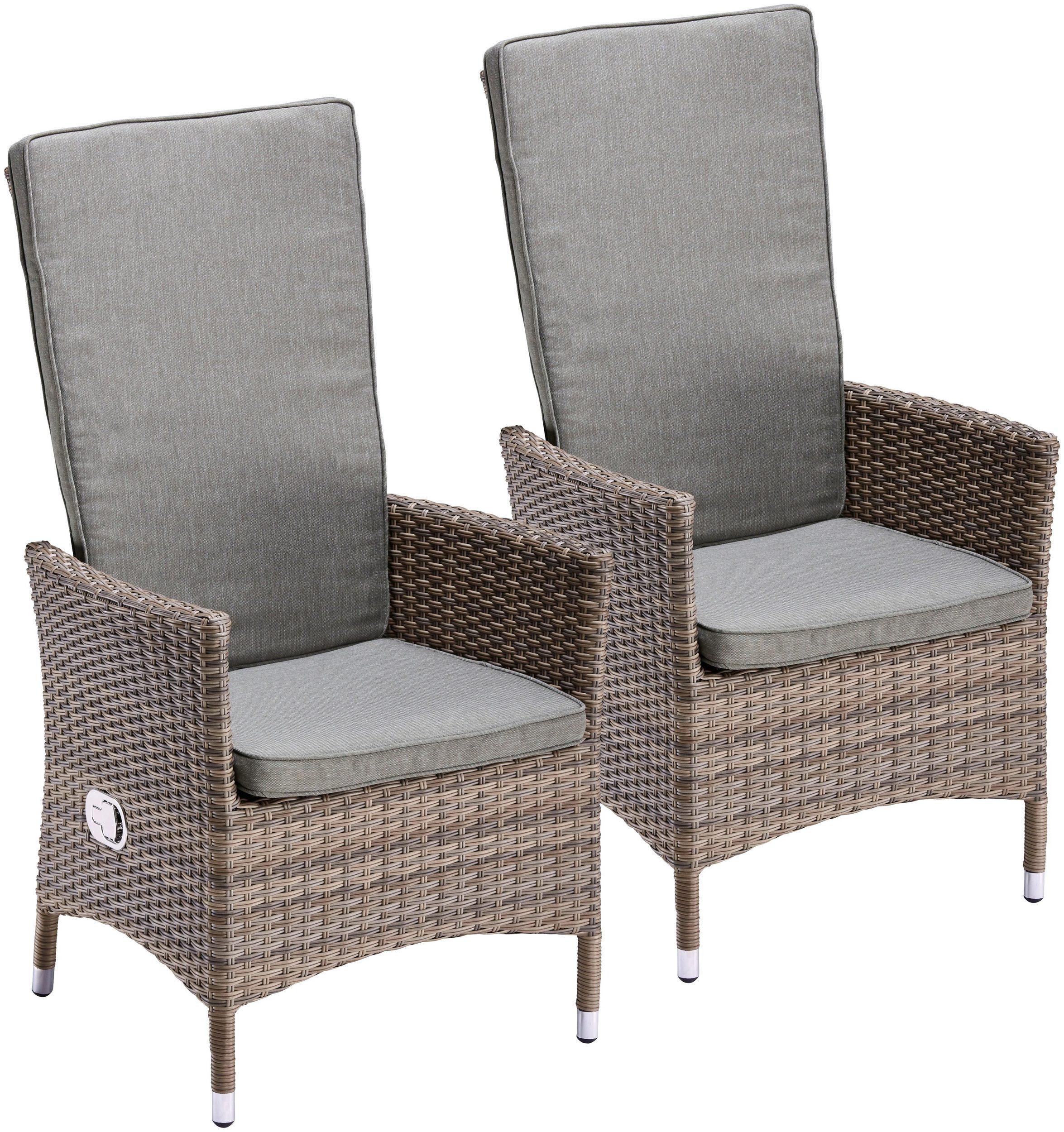 2 Gartenstühle Gartensessel Stuhl verstellbare Rückenlehne Polyrattan 7150247