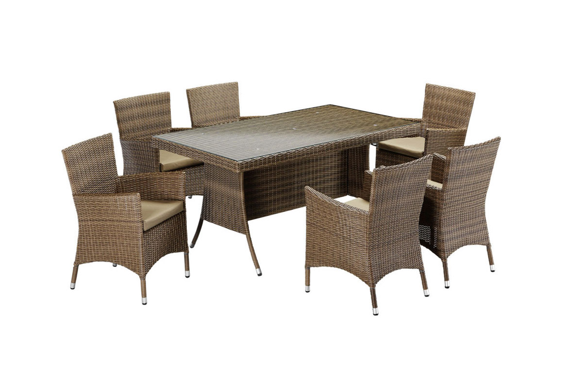 gartengruppe essgruppe tisch 160x90 st hle polyrattan auflagen braun 7150305 ebay. Black Bedroom Furniture Sets. Home Design Ideas
