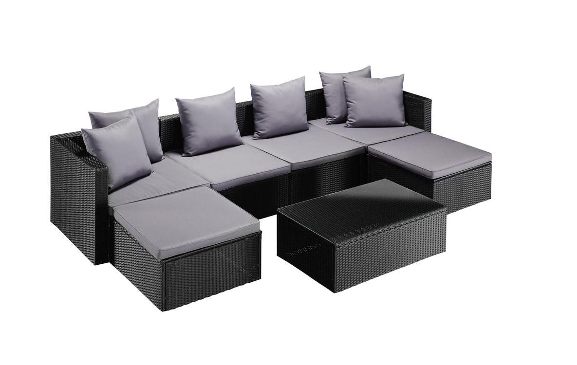 Ecklounge Loungruppe Gartenlounge Polyrattan Tisch 100x60 schwarz 7150309