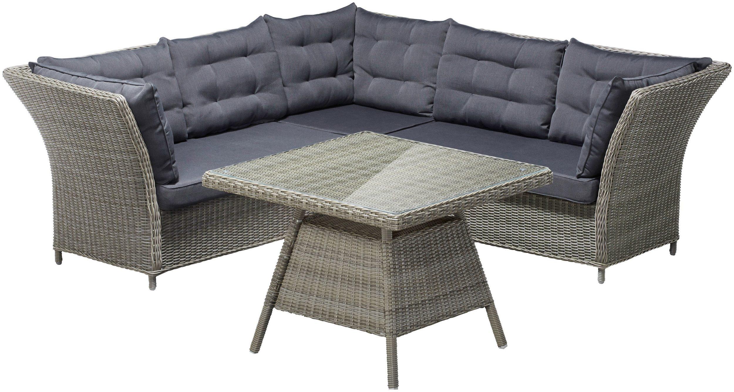Ecklounge Loungegruppe Loungebett Gartengruppe Polyrattan grau 7150351