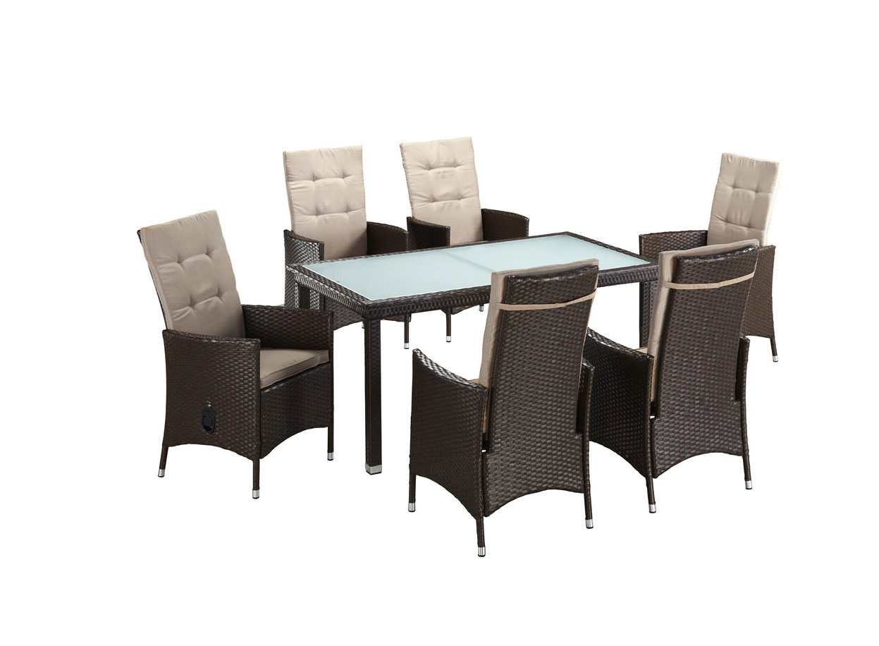 gartengruppe essgruppe tisch 148x84 st hle polyrattan auflagen braun 7150370 ebay. Black Bedroom Furniture Sets. Home Design Ideas