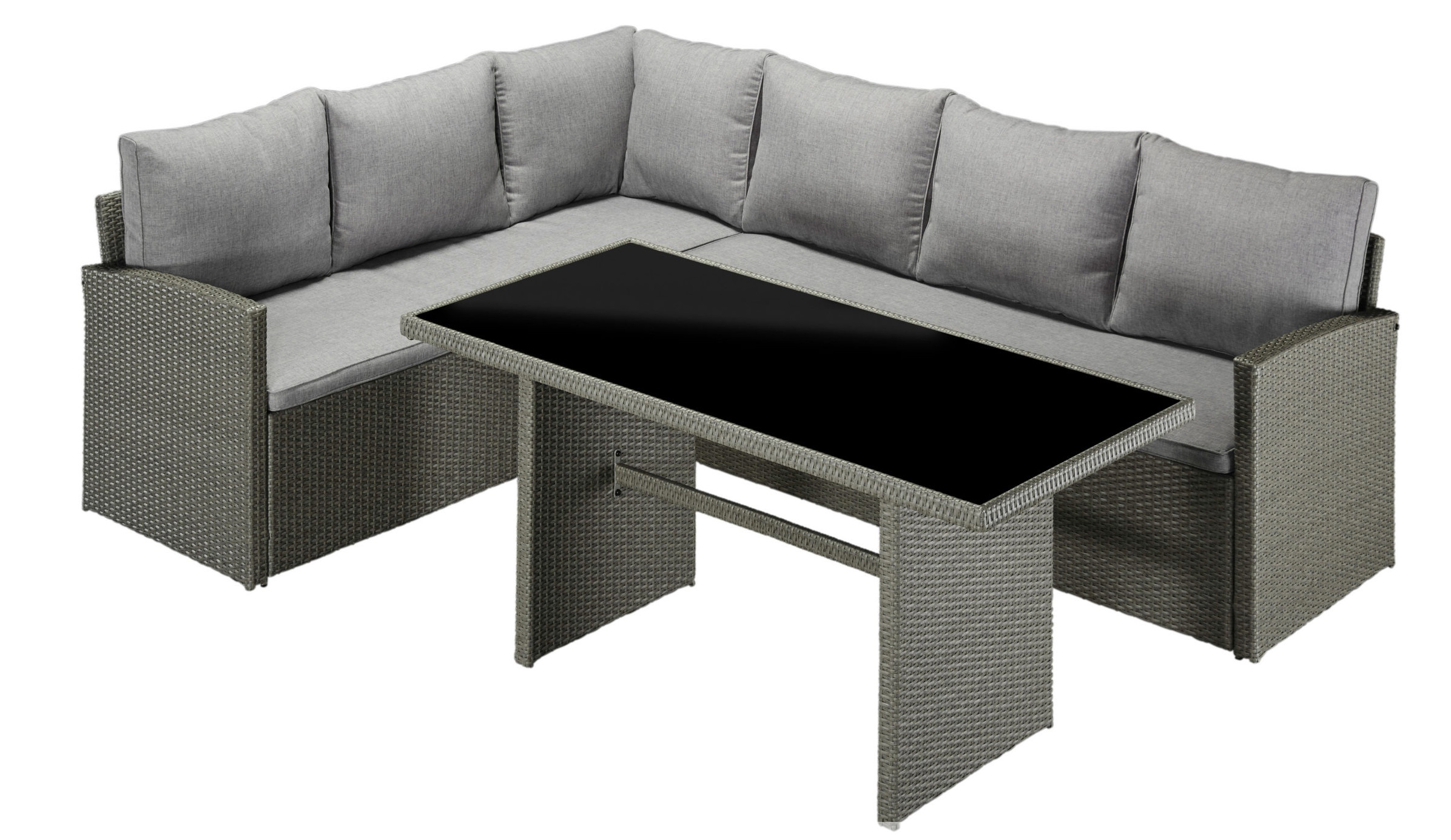 ecklounge gratengruppe sitzgruppe polyrattan tisch 145x70 auflagen grau 7150382 ebay. Black Bedroom Furniture Sets. Home Design Ideas