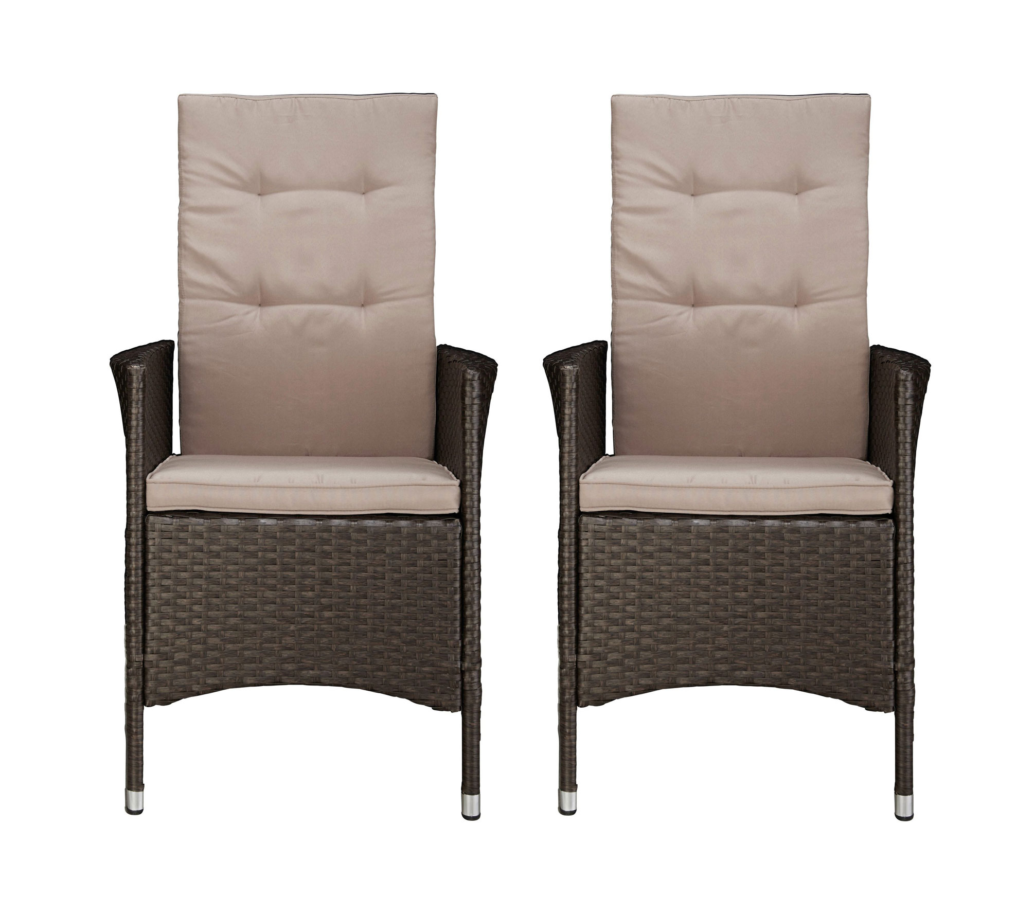 gartenst hle gartensessel st hle sessel 2 st ck polyrattan braun 7150386 ebay. Black Bedroom Furniture Sets. Home Design Ideas
