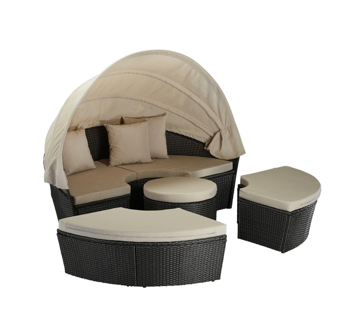 loungebett gartenlounge sitzgruppe dach auflagen polyrattan 7150404 ebay. Black Bedroom Furniture Sets. Home Design Ideas