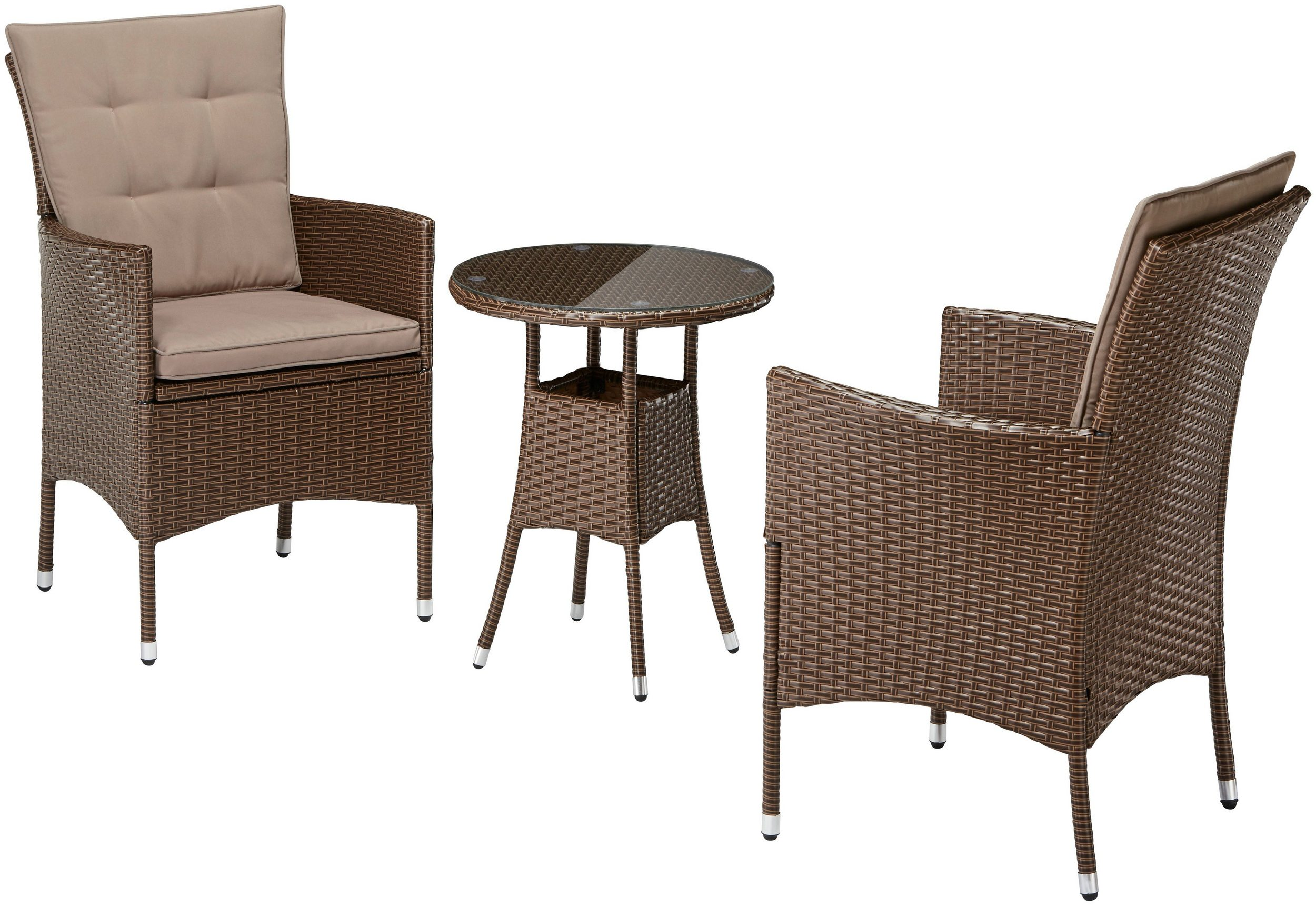 gartengruppe essgruppe tisch 50cm st hle polyrattan auflagen braun 7150471 ebay. Black Bedroom Furniture Sets. Home Design Ideas