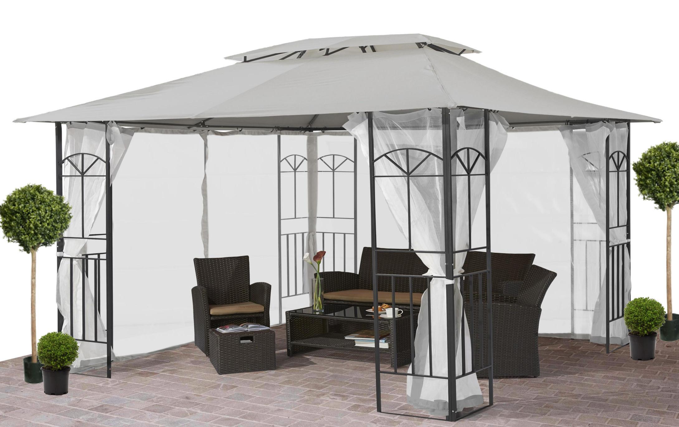 pavillon stahl gestell 3x4 doppeldach polyester hellgrau 7220069 ebay. Black Bedroom Furniture Sets. Home Design Ideas
