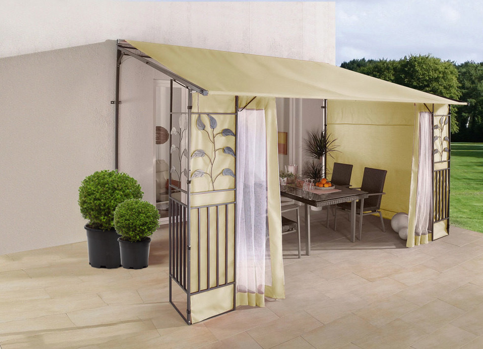 terrassendach anbaupergola 3x4 rolldach polyester sand 7220101 ebay. Black Bedroom Furniture Sets. Home Design Ideas