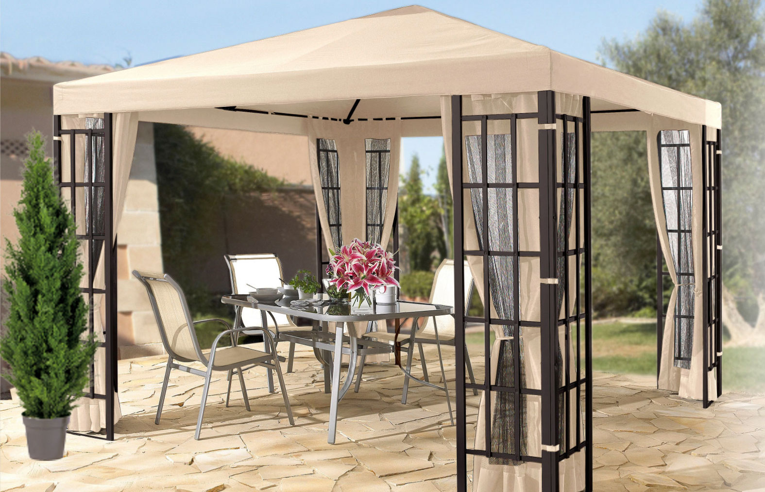 pavillonseiten seitenteile fenster polyester natur 3x3m. Black Bedroom Furniture Sets. Home Design Ideas