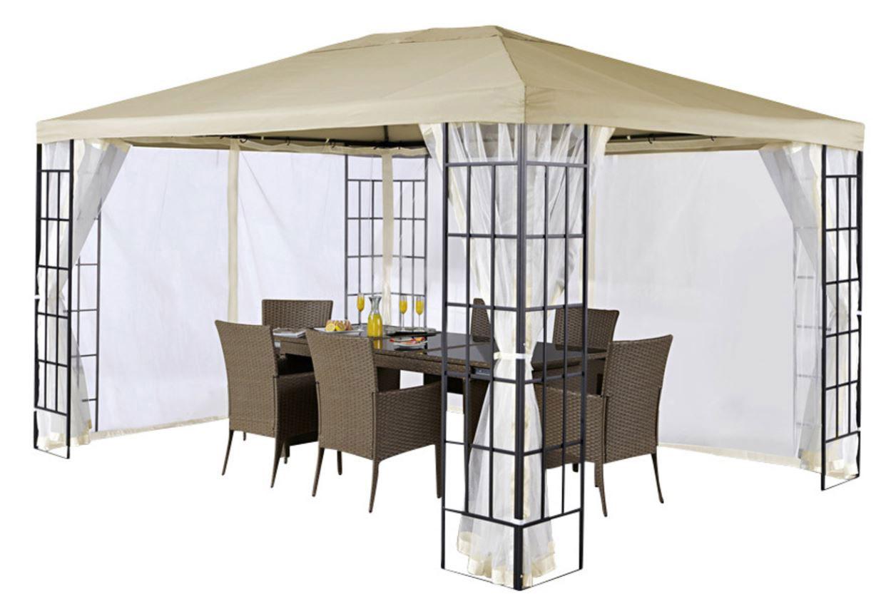 seitenteile pavillonseiten moskitonetz 3x4 polyester sand. Black Bedroom Furniture Sets. Home Design Ideas