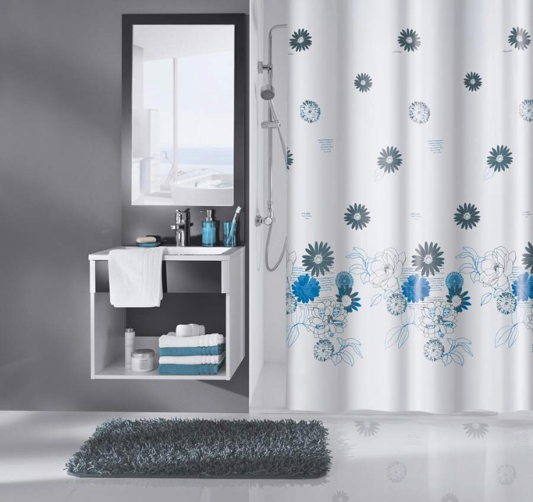 Duschvorhang Vorhang Blumen weiß blau Peva mit Ringen 7240136