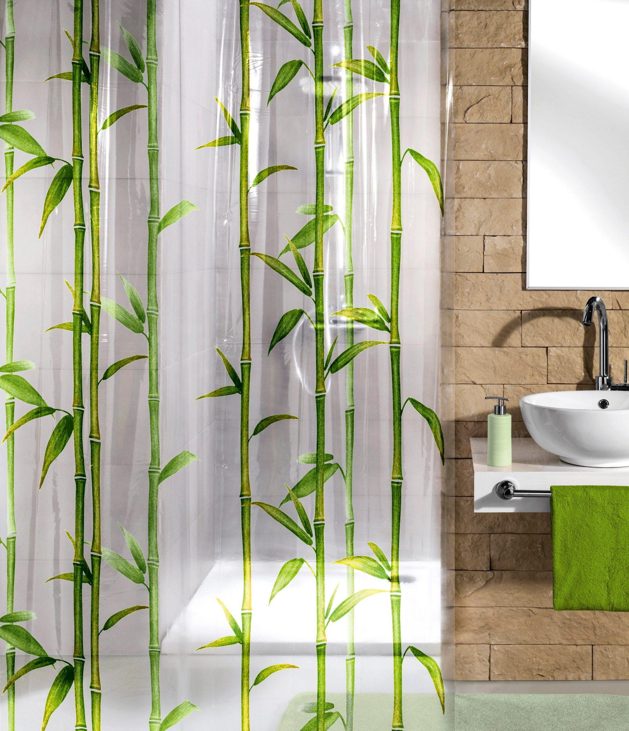 Duschvorhang Vorhang Bamboo Bambus-Print Peva ohne Ringe 7240142