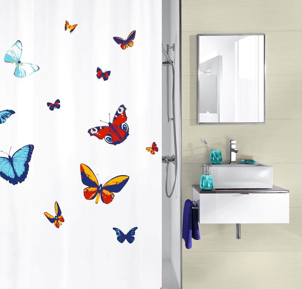 Duschvorhang Vorhang Dusche Peva Schmetterlinge beige ohne Befestigungen 7240153