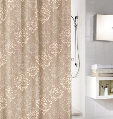 Duschvorhang Vorhang Dusche Peva Schörkel beige mit Befestigungen 7240170