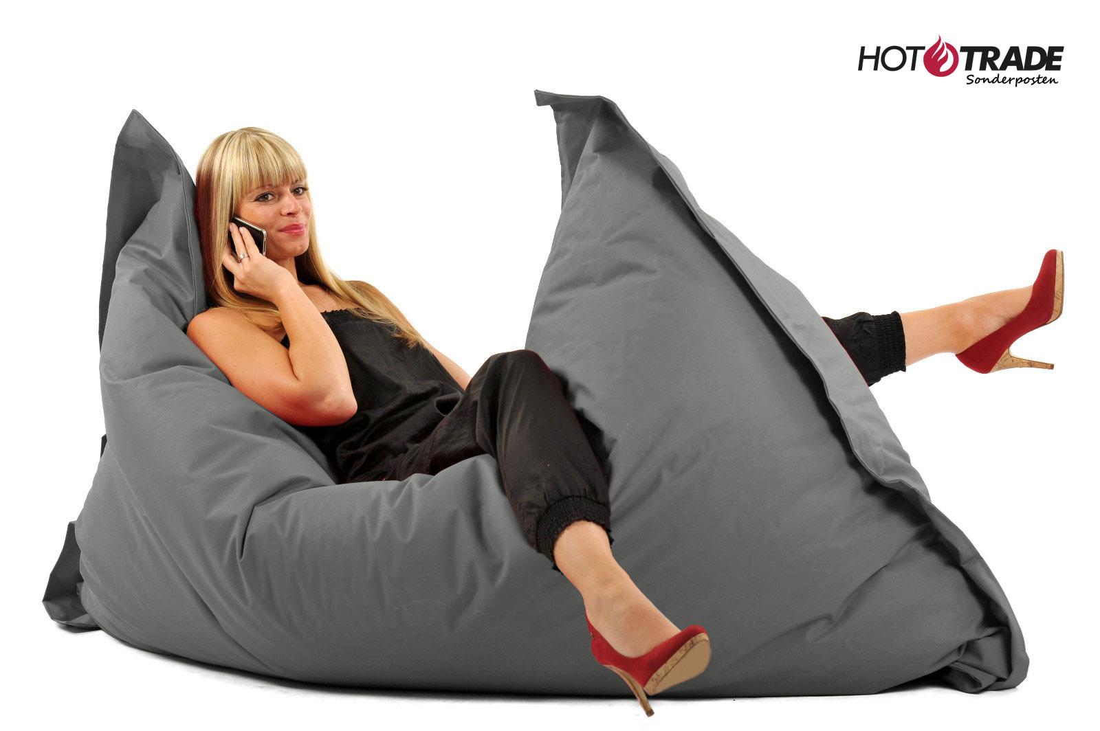 kissenscheich sitzsack xxl 140x180cm grau rechteck 218. Black Bedroom Furniture Sets. Home Design Ideas