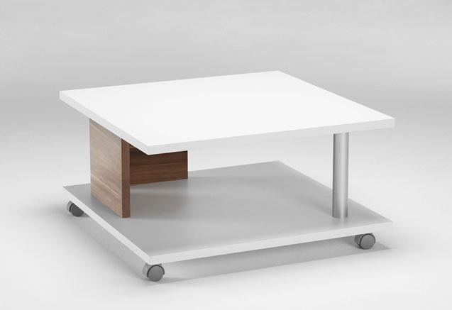 couchtisch tisch wohnzimmertisch nussbaum mit rollen 3127. Black Bedroom Furniture Sets. Home Design Ideas